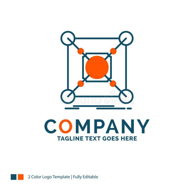Grund mitt, anslutning, data, nav Logo Design blå orange royaltyfri illustrationer