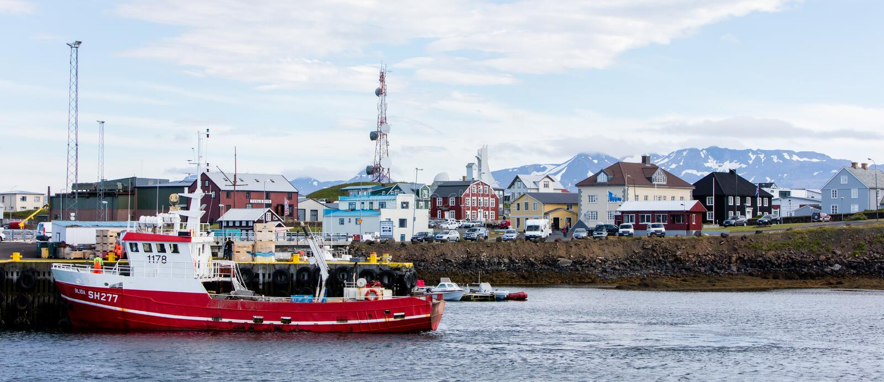 Grundarfjordur city near Kirkjufell mountain, Iceland. royalty free stock photography