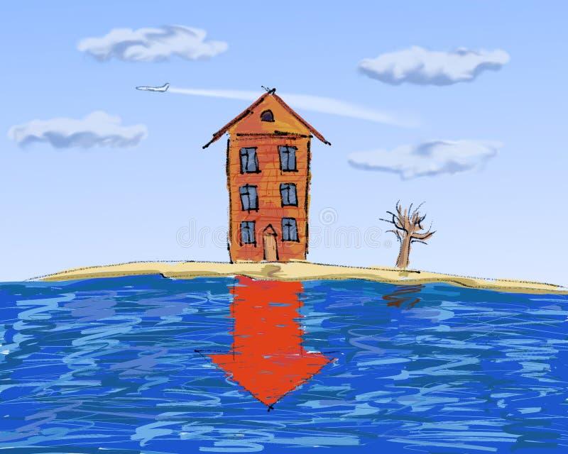 Grundbesitz, Absacken in den Preisen lizenzfreie abbildung