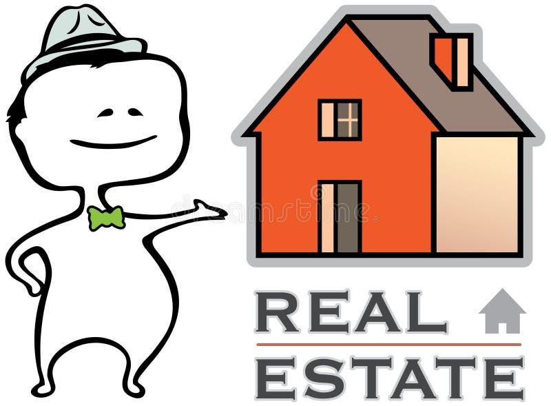 Grundbesitz - ein Immobilienmakler und ein Haus stock abbildung