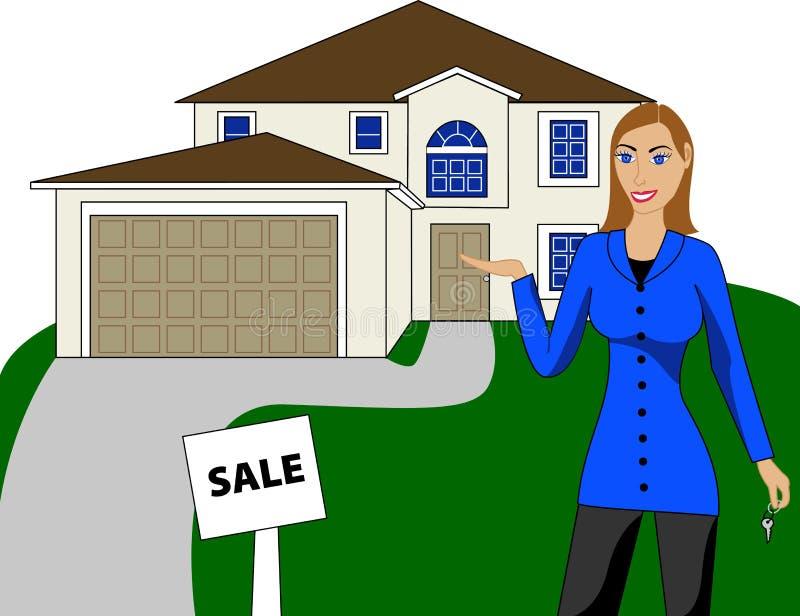 Grundbesitz-Haus-Frau lizenzfreie abbildung