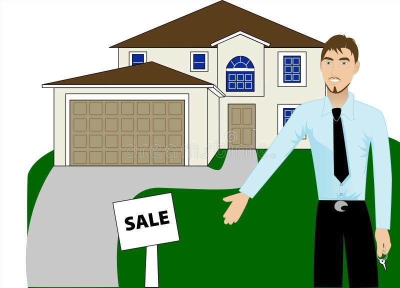 Grundbesitz-Haus-Mann stock abbildung