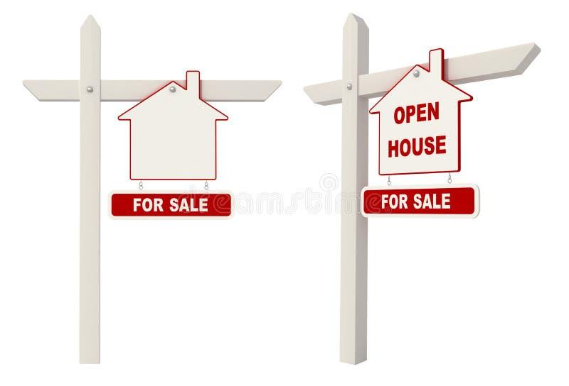 Grundbesitz Signpost - geöffnetes Haus vektor abbildung