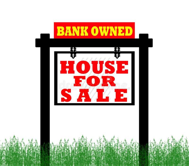 Grundbesitzhaus für Verkaufszeichen stock abbildung