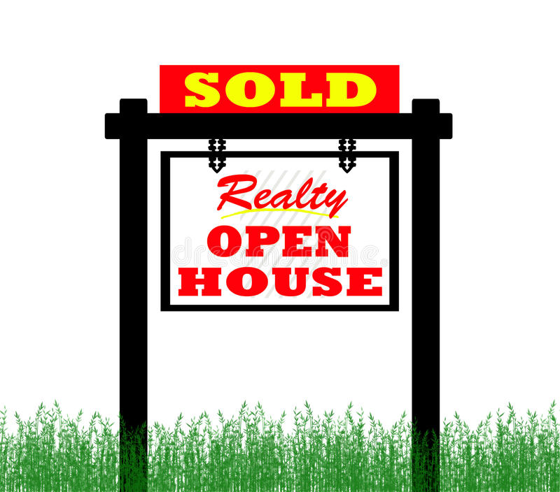 Grundbesitzhaus für Verkaufszeichen, geöffnetes Haus stock abbildung