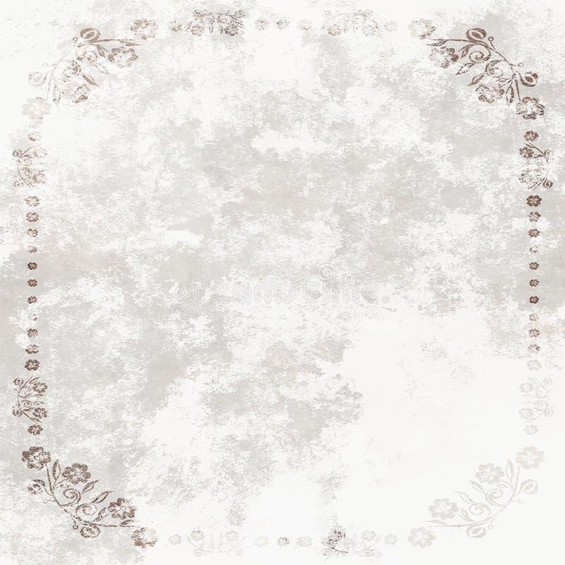 Grundge bielu prześcieradło z kwiecistą ramą ilustracja wektor