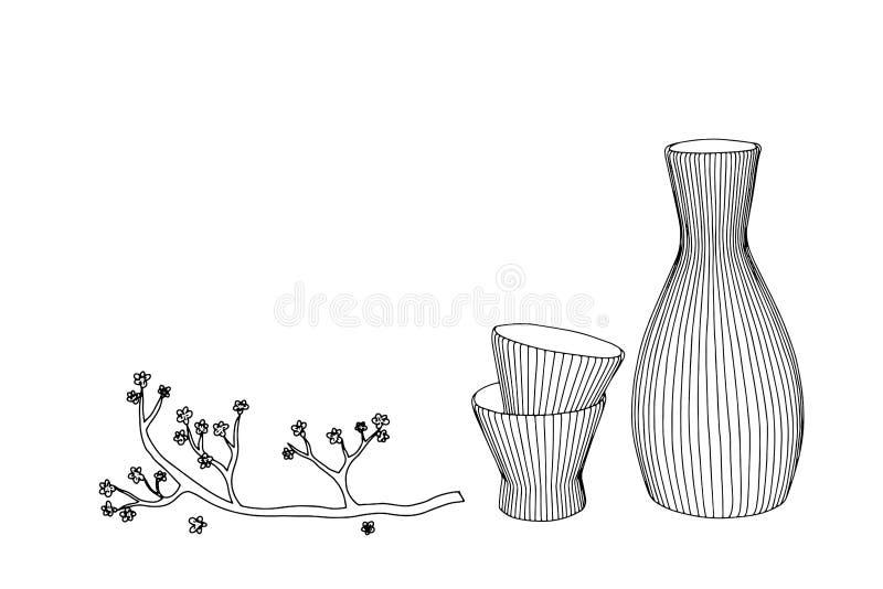 Grundglas, -flasche und -japan Vektorhand gezeichnete Abbildung stockfotos