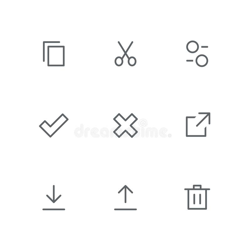 Grundläggande översiktssymbolsuppsättning 08 vektor illustrationer