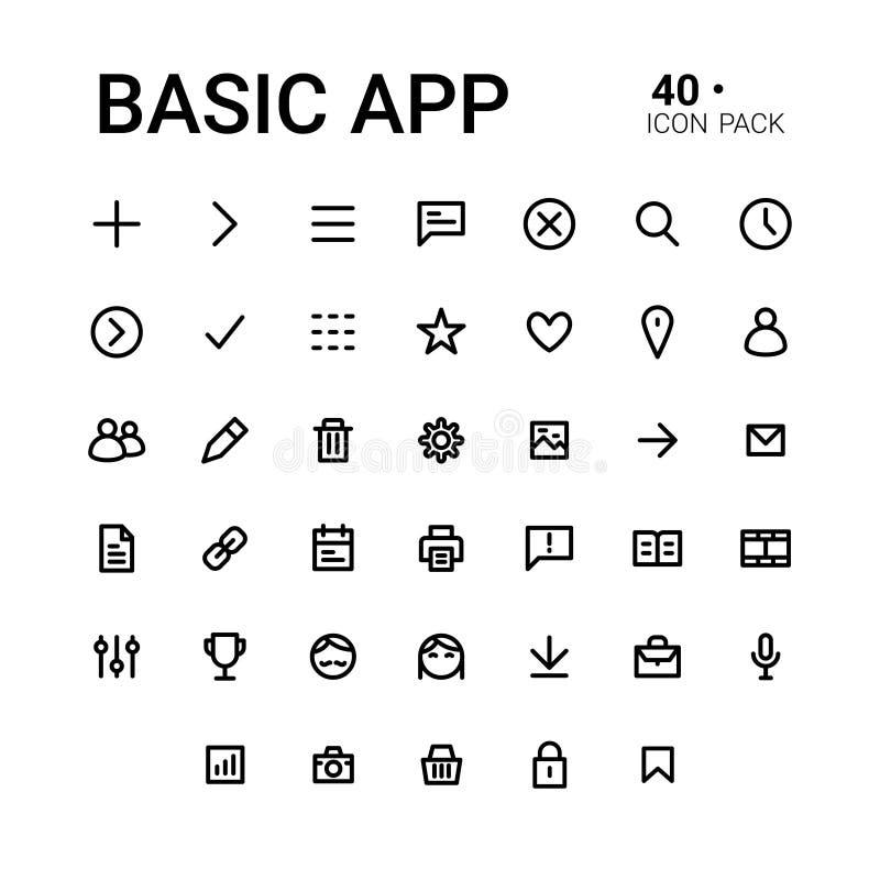 Grundläggande app-symbolsuppsättning vektor illustrationer