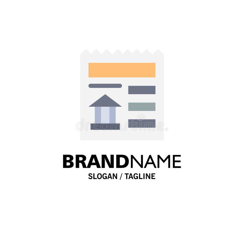 Grundläggande dokument, Ui, bankaffär Logo Template plan f?rg royaltyfri illustrationer