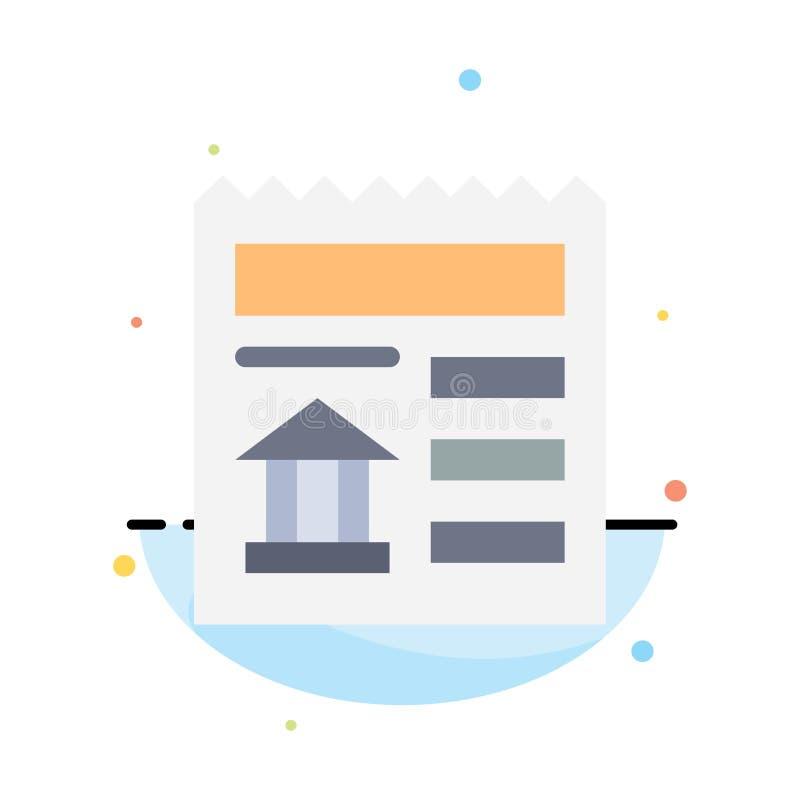Grundläggande dokument, Ui, för färgsymbol för bank abstrakt plan mall vektor illustrationer