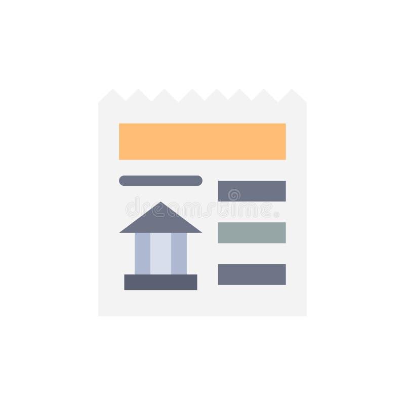 Grundläggande dokument, Ui, plan färgsymbol för bank Mall för vektorsymbolsbaner stock illustrationer
