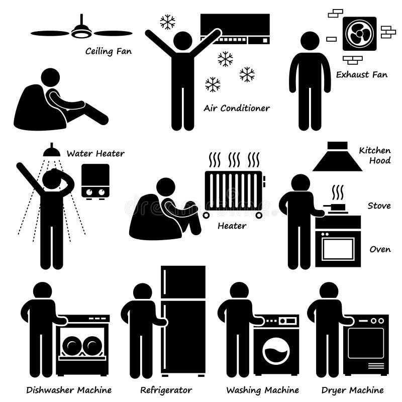 Grundläggande elektroniska anordningar Cliparts för hem- hus royaltyfri illustrationer