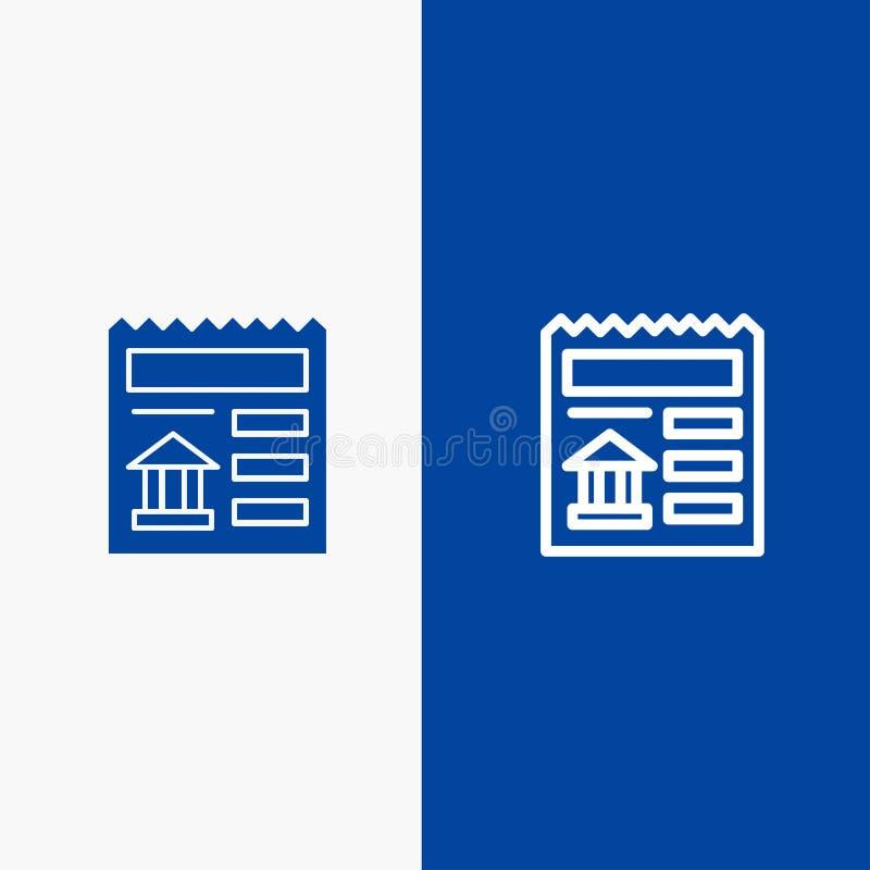 Grundläggande, för dokument, Ui, för banklinje och för skåra för fast symbol för blå för baner symbol för linje och för skåra fas stock illustrationer
