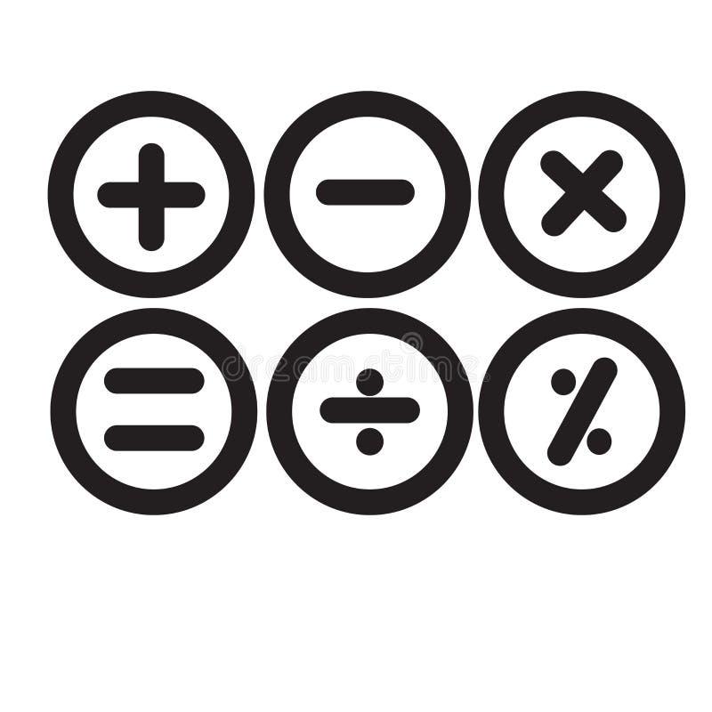 Grundläggande för symbolsvektor isolerade för matematiska symboler tecken och symbol royaltyfri illustrationer