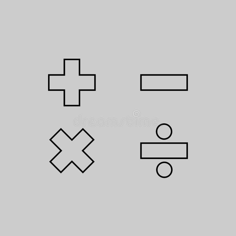 Grundläggande konst för matematiskt tecken royaltyfri illustrationer