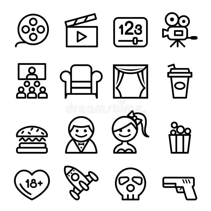 Grundläggande linje symbolsvektorillustration för filmsymbolsuppsättning royaltyfri illustrationer