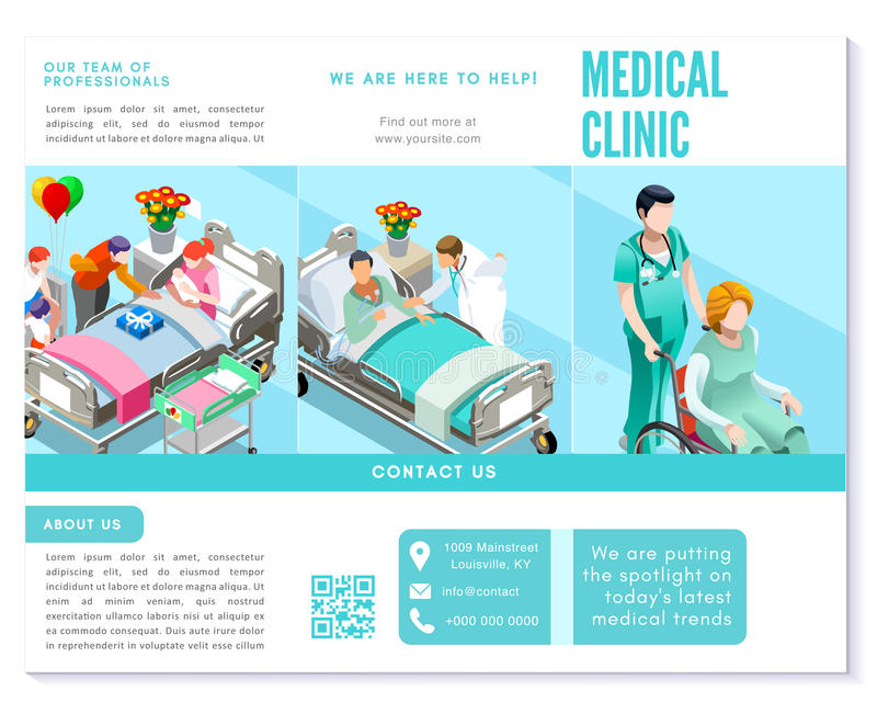 Grundläggande mall för Trifold för broschyr för medicinsk klinik för rengöring vektor för blått royaltyfri illustrationer