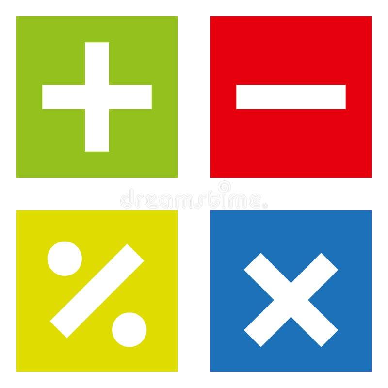 Grundläggande matematiska symboler på vit bakgrund royaltyfri illustrationer