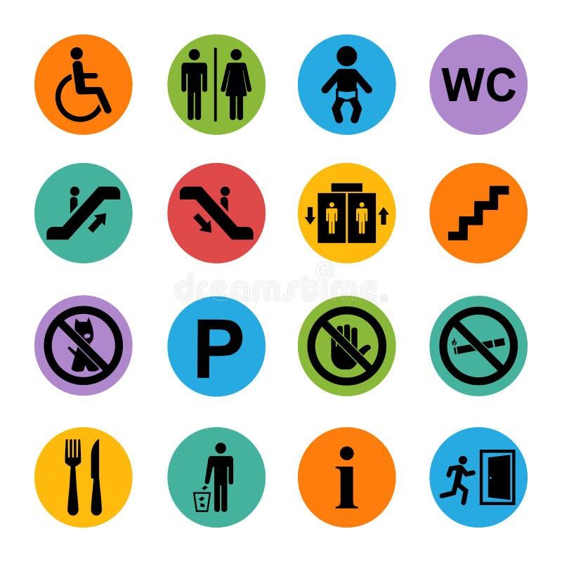 Grundläggande offentlig symbol stock illustrationer