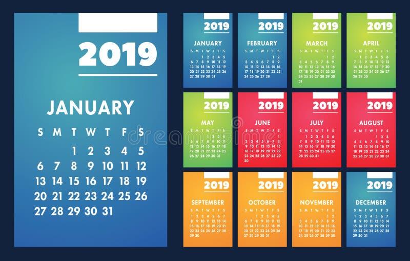 Grundläggande raster 2019 för kalendervektor Mall för enkel design royaltyfri illustrationer