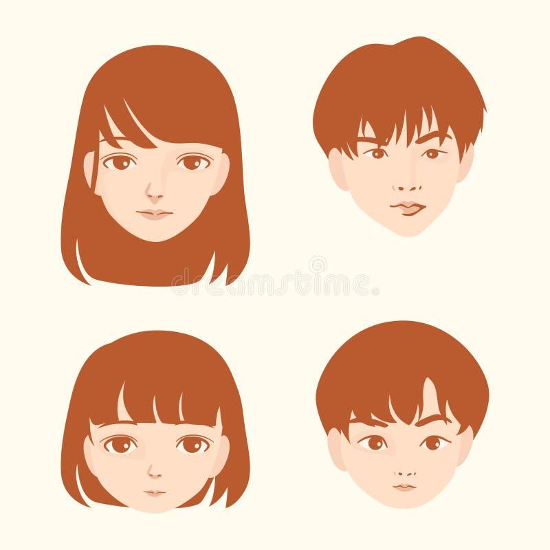 Grundläggande RGBPortrait av asiatiska framsidabarn och vuxna människor man och kvinnor vektor illustrationer