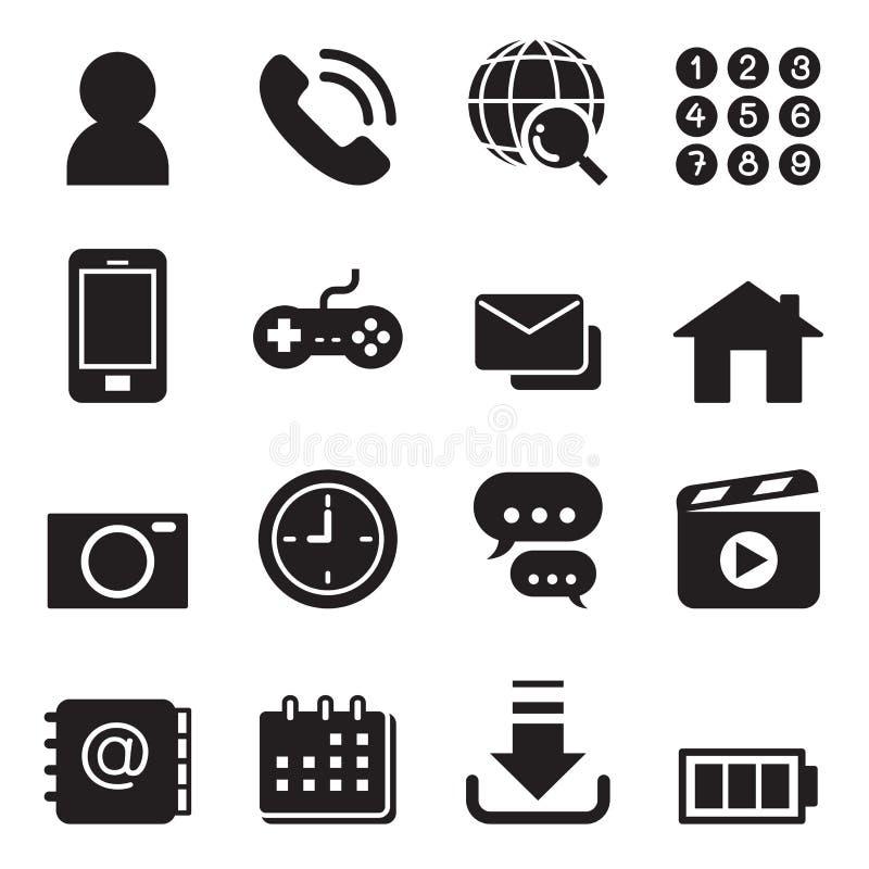 Grundläggande smart uppsättning för telefonapplikationsymboler stock illustrationer
