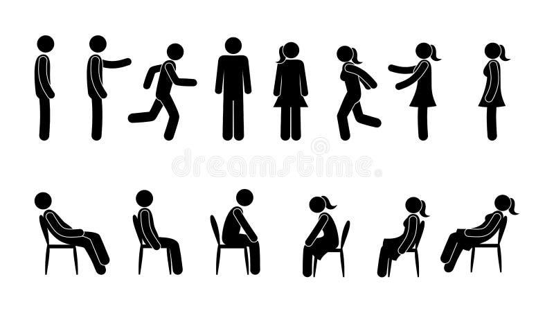 Grundläggande uppsättning av pinnediagramet mansymbol stock illustrationer