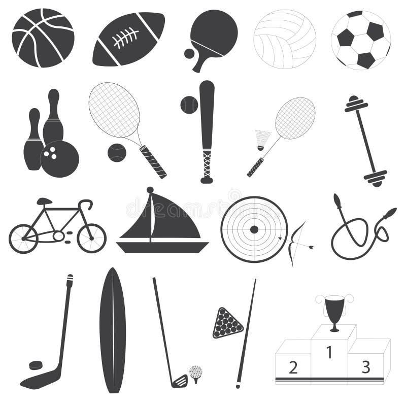 Grundläggande uppsättning för sportsymbolsvektor royaltyfri illustrationer