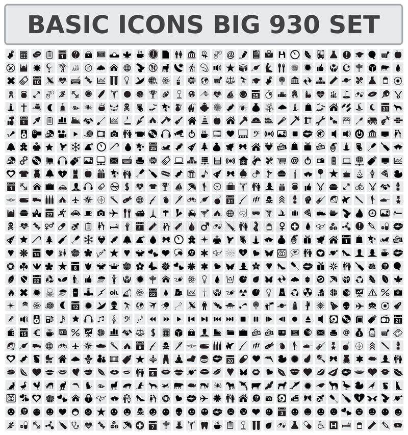 Grundläggande uppsättning för symboler 930 vektor illustrationer