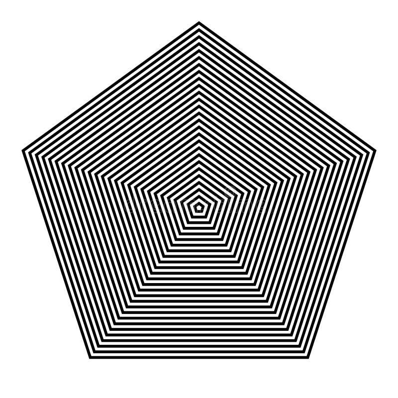 GRUNDLÄGGANDE VANLIGT GEOMETRISKT Grafiska beståndsdelar PARALLELLEN FODRAR MED PENTAGON vektor illustrationer