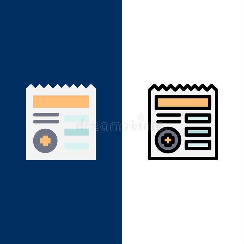 Grundlegend, Dokument, Ui, medizinische Ikonen Ebene und Linie gefüllte Ikone stellten Vektor-blauen Hintergrund ein lizenzfreie abbildung