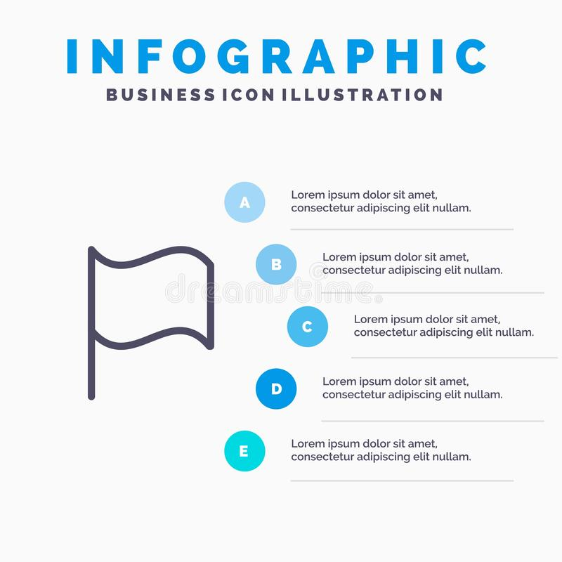 Grundlegend, Flagge, Ui-Linie Ikone mit Hintergrund infographics Darstellung mit 5 Schritten stock abbildung