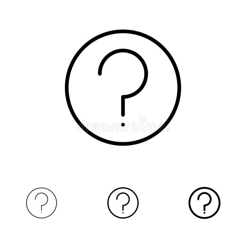 Grundlegend, Hilfe, Ui, Mark Bold und dünne schwarze Linie Ikonensatz lizenzfreie abbildung