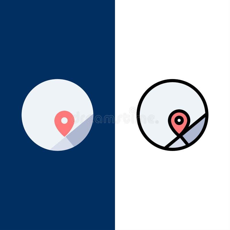 Grundlegend, Karte, Standort, Karten-Ikonen Ebene und Linie gefüllte Ikone stellten Vektor-blauen Hintergrund ein lizenzfreie abbildung