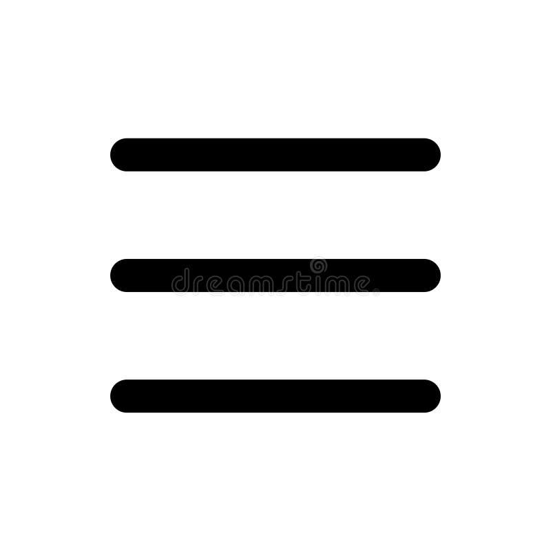 Grundlegende APP-Burgermenüikone stock abbildung