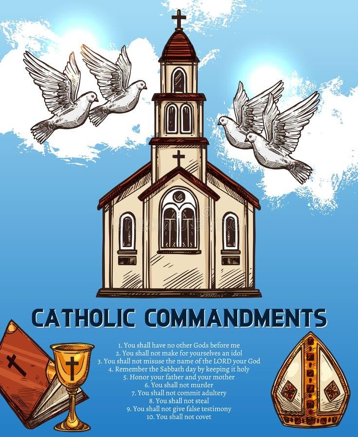 Grundlegende Aufgaben der katholischen Gebote, Vektor lizenzfreie abbildung