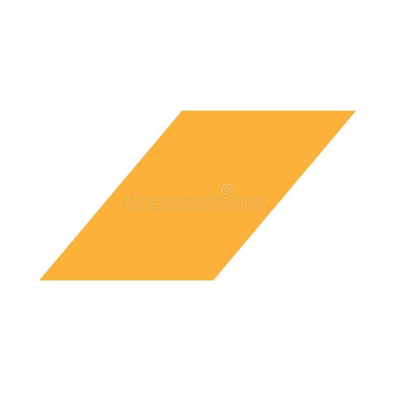 Grundlegende einfache Formen des orange Parallelogrammes lokalisiert auf weißem Hintergrund, geometrische Parallelogramm-Ikone,  vektor abbildung