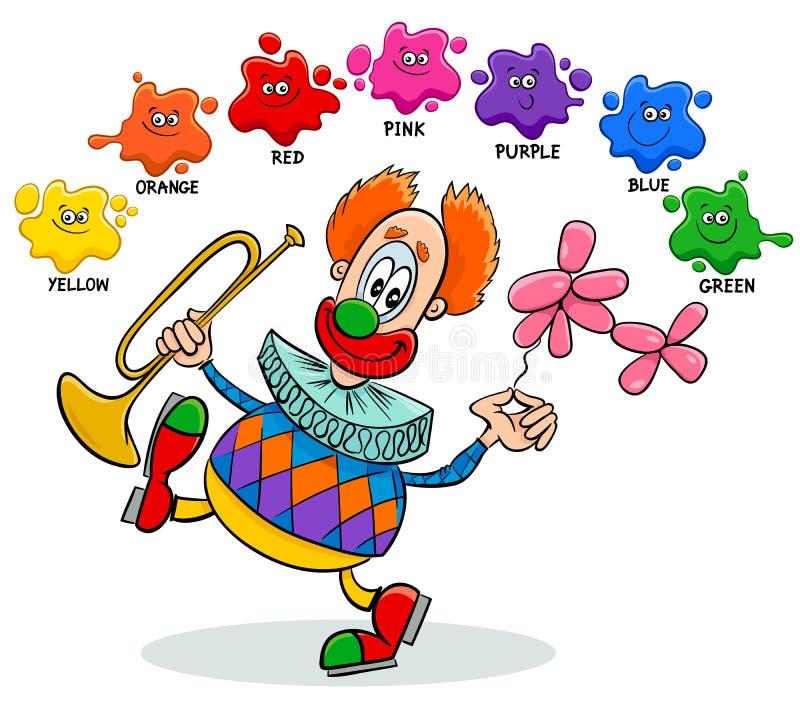 Grundlegende Farbpädagogisches Arbeitsblatt mit Clown stock abbildung