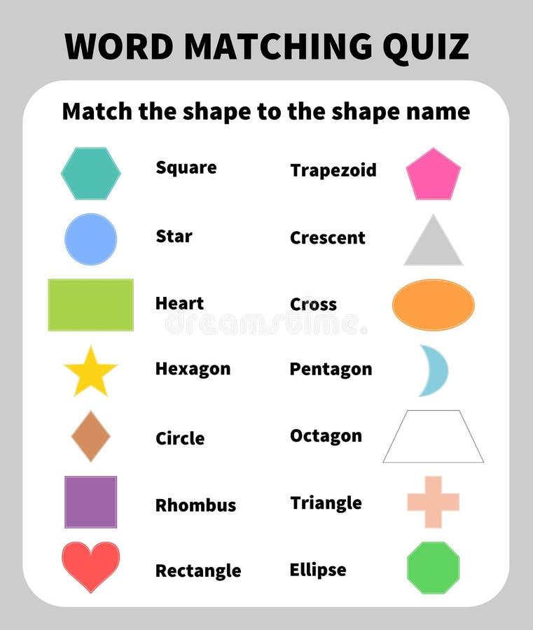 Grundlegende Formen, die Quiz zusammenbringen Lernen von 2D Formen für Kinder lizenzfreie abbildung