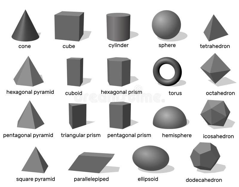 Grundlegende geometrische Formen 3d Getrennt auf weißem Hintergrund Vektor stock abbildung