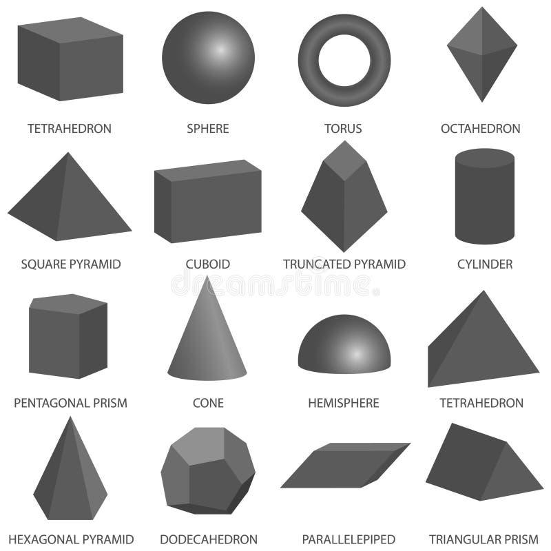 Grundlegende geometrische Formen 3d lokalisiert auf weißem Hintergrund Alles grundlegende 3d formt Schablone in der Dunkelheit Re lizenzfreie abbildung