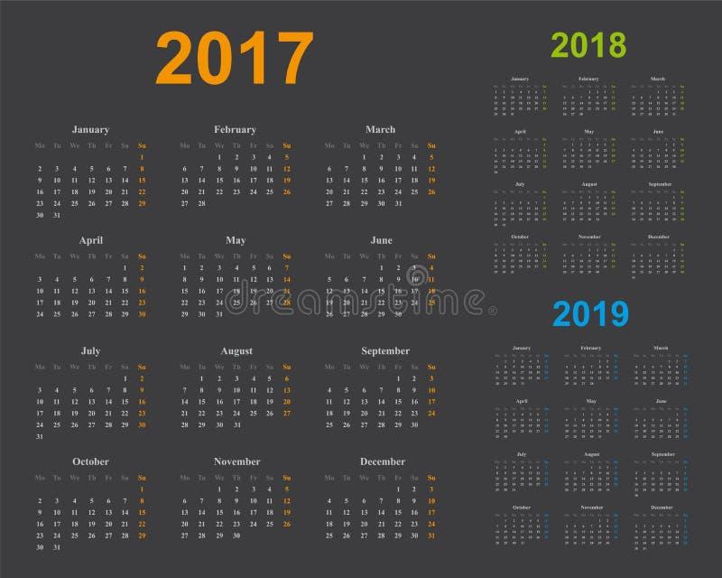 Grundlegende Kalenderschablone, Jahre 2017, 2018, 2019, grauer Hintergrund lizenzfreie abbildung
