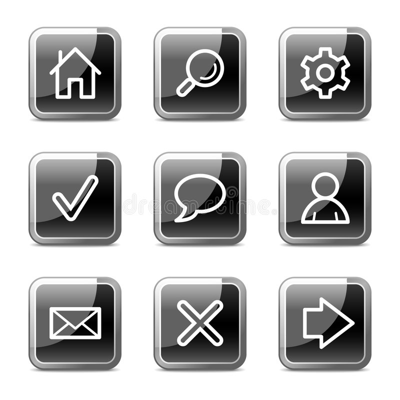Grundlegende Web-Ikonen, glatte Tastenserie lizenzfreie abbildung