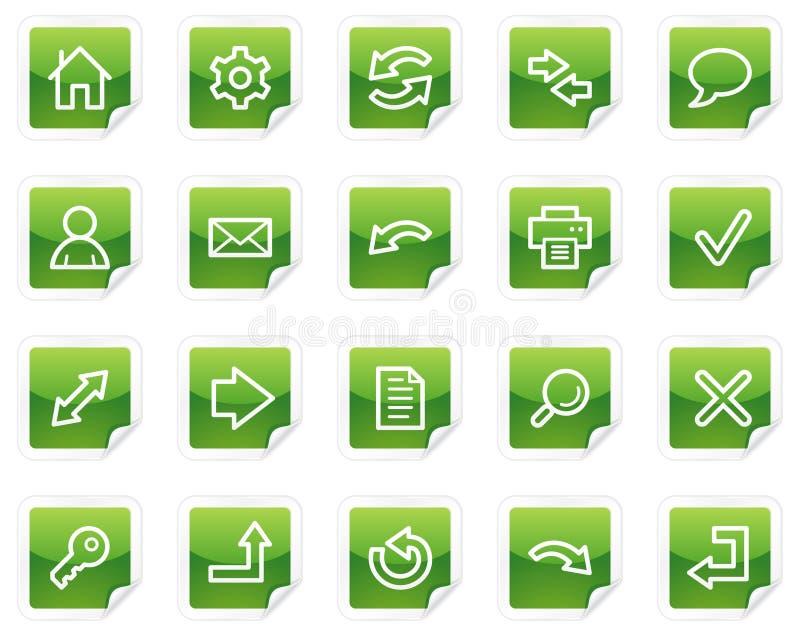 Grundlegende Web-Ikonen, grüne Aufkleberserie vektor abbildung