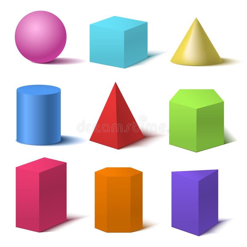 Grundlegender Form-Satz der realistische ausführliche Farbe3d Vektor stock abbildung