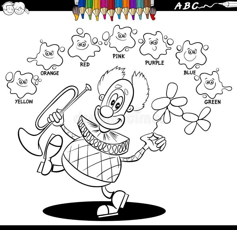 Grundlegendes Farbmalbuch mit glücklichem Clown lizenzfreie abbildung