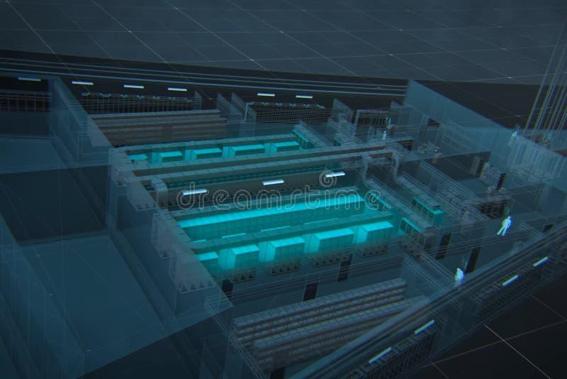 Grundlegendes Schema 3d ist das Rechenzentrum lizenzfreies stockbild