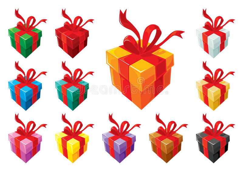 Grundlegendes Set der Geschenkkästen lizenzfreie abbildung