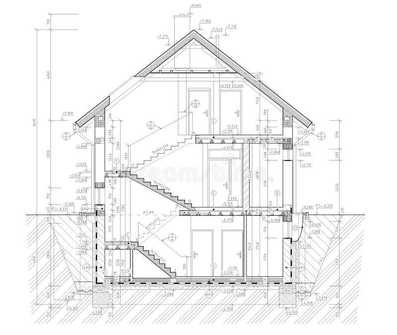 Grundplan des flachen Gebäudes stock abbildung